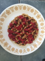 "Gluten free waffle w/""cacao"" sauce & raspberry ""syrup"""