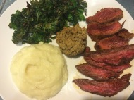 Steak, kale, cauliflower, coconut bread